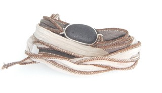 Eco-silver Brown Seaham Sea Glass Boho Silk Wrist Wrap Timberland