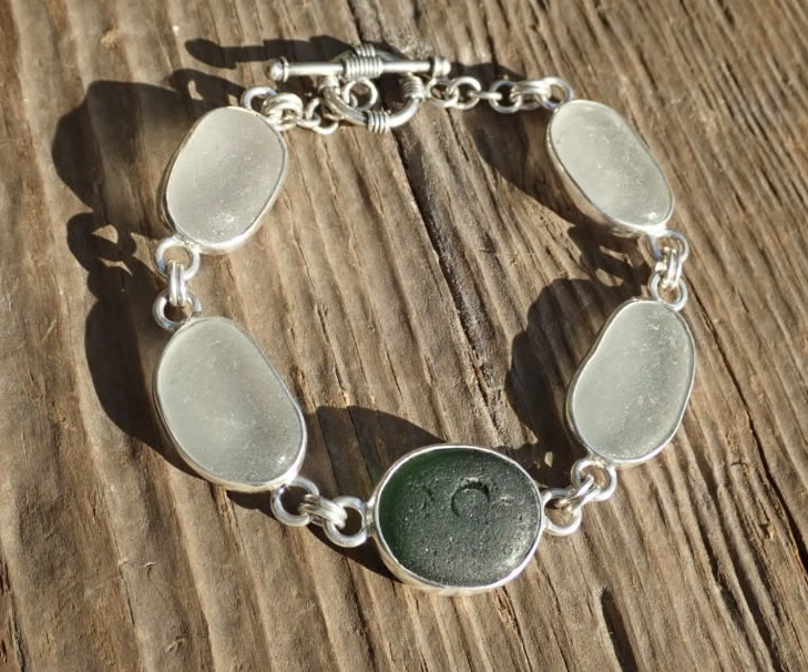 Eco-silver White and Green Seaham Sea Glass Bracelet Multi Open Bezel
