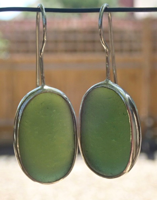 ED24 Sea Glass Earrings Durhams Heritage Coastline Forest Green Sea Glass