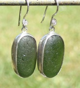 ES18 Sea Glass Earrings Jurasic Coastline Forest Green Sea Glass
