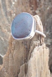 RE162 Eco-silver Sea Glass Ring Seaham Multi Red, Dark Teal Blue UK S