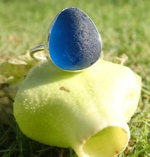RE205 Eco-silver Sea Glass Ring Seaham Blue UK U