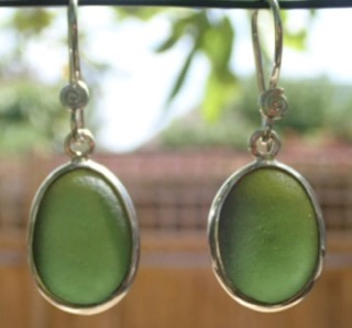 ES37 Eco-silver Sea Glass Earrings from Seaham in Forest Green Sea Glass