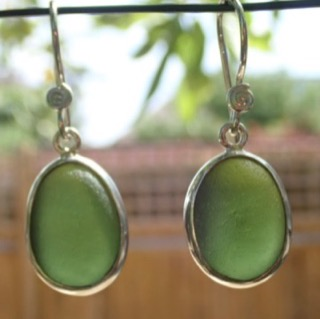 ES37 Sea Glass Earrings from Seaham in Forest Green Sea Glass