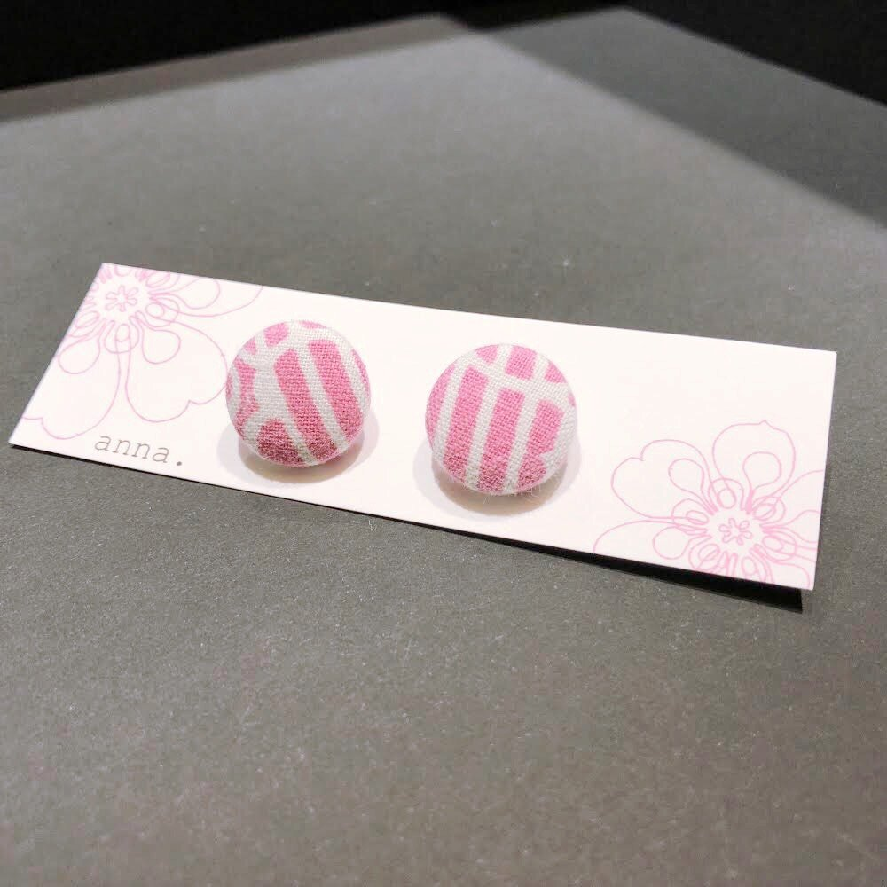 anna. earrings pink stripes