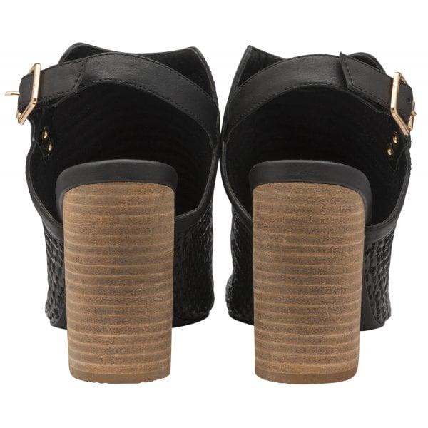 Ravel Clifton Black Pu Block Heel