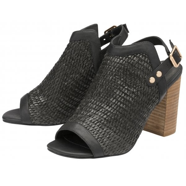 Ravel Clifton Black Pu Block Heel