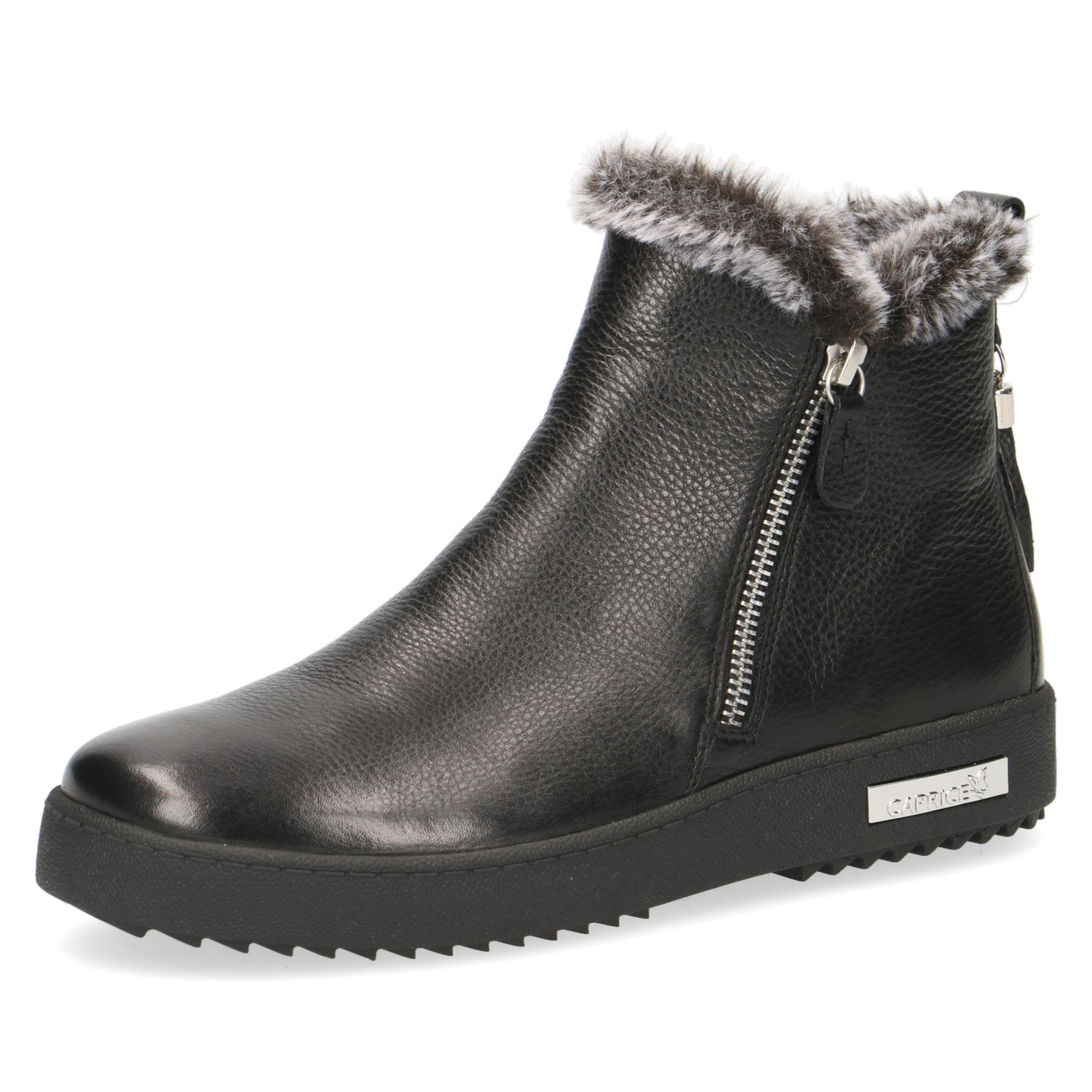 Caprice Black Leather Fur - Zip Detail Chunky Ankle Boot