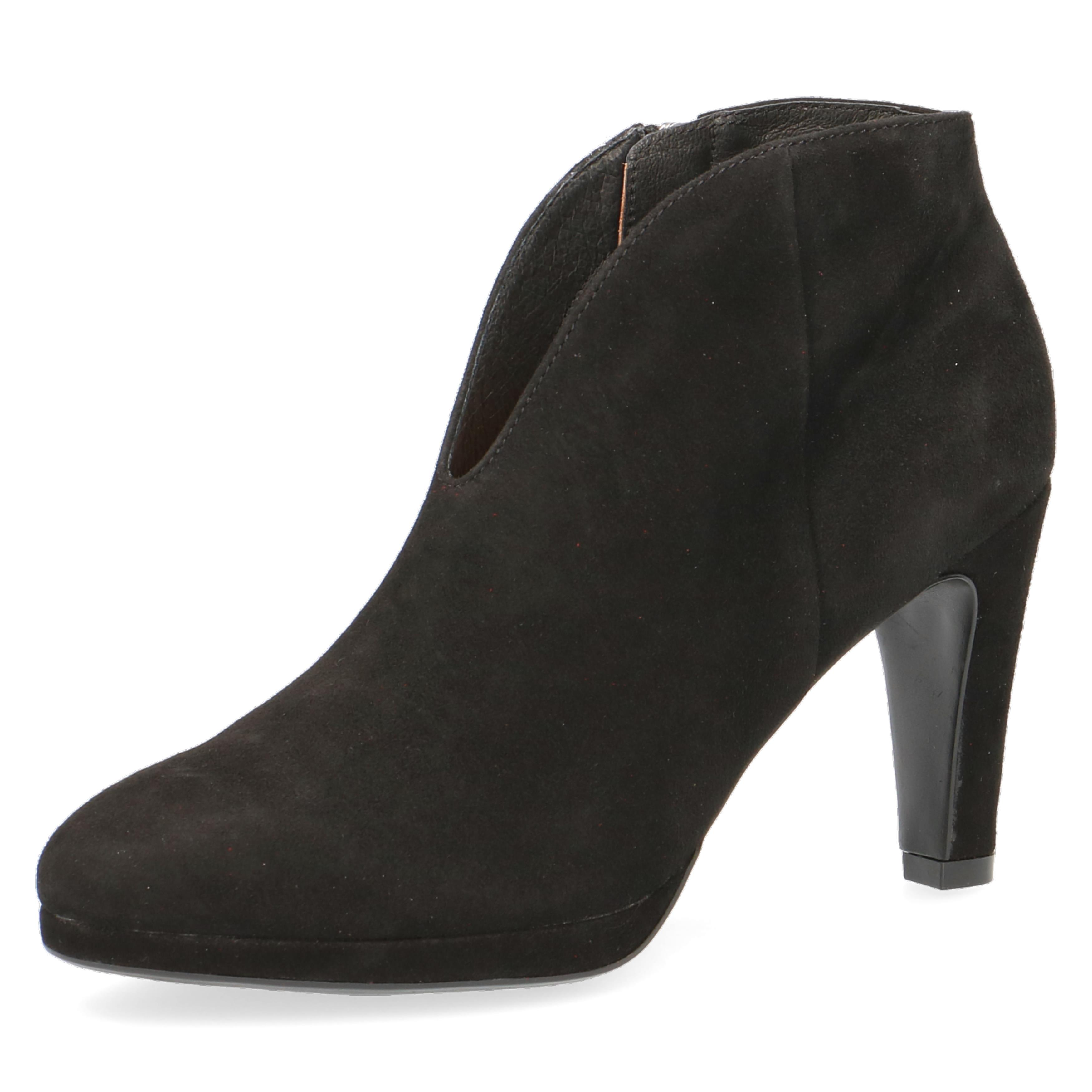 Caprice Black Suede Ankle Boot inside Zip