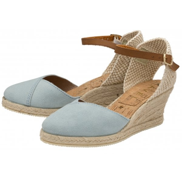 Ravel Springwood Pale Blue Suede Espadrille Wedge