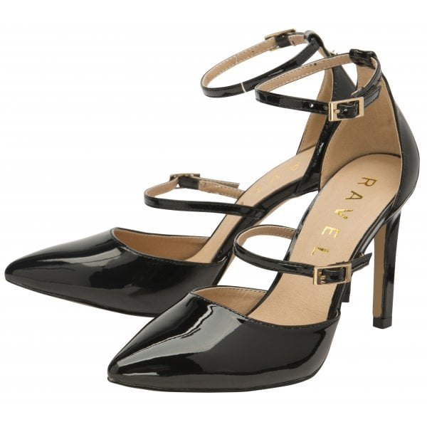 Ravel Doyle Black Patent Pu Strappy Heel