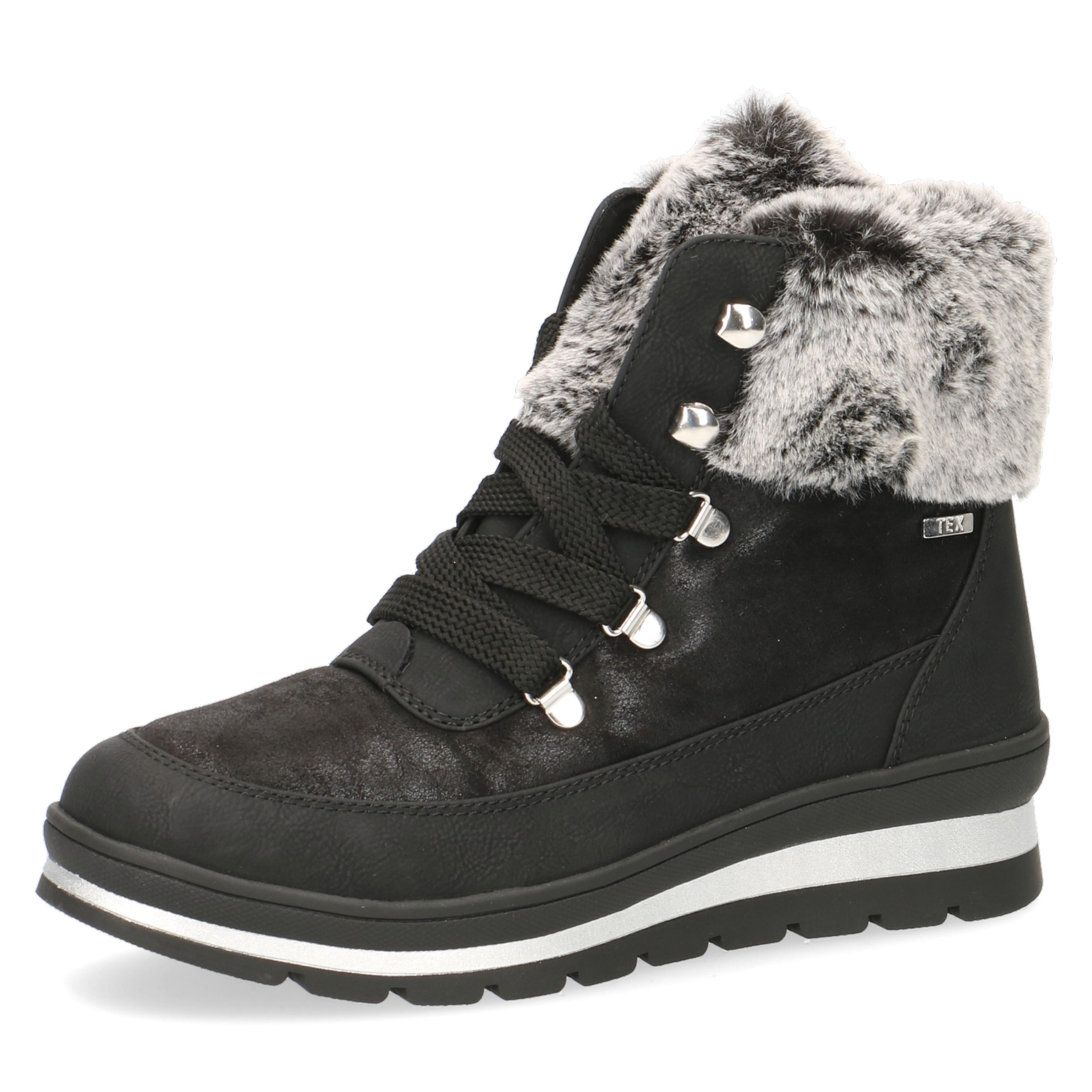 Caprice Black Suede Leather Fur Trim Snow Boots