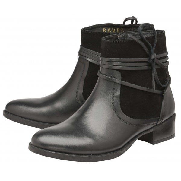 Ravel Marshall Black Leather -Suede Ankle Boot
