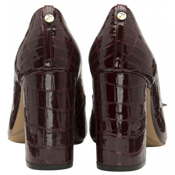 Ravel Lincoln Burgundy Croc Patent Block Heel