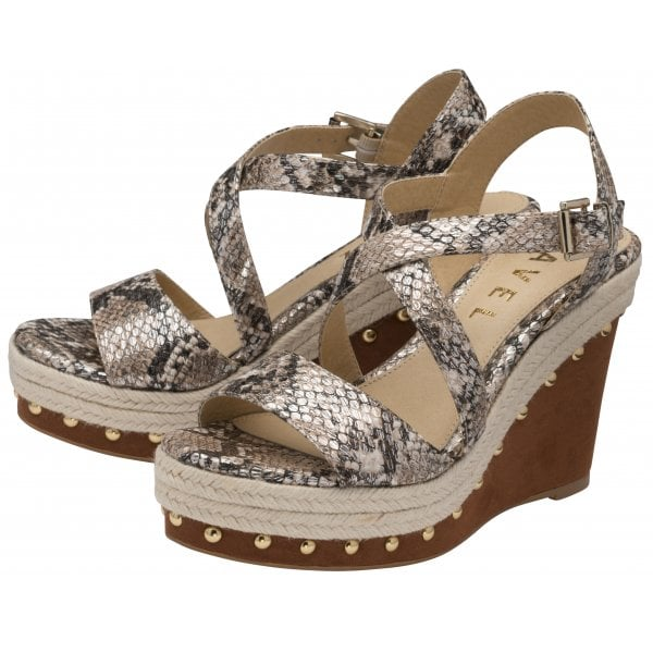 Ravel Yeovil Taupe Snake PU Wedge Sandal
