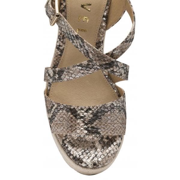 Ravel Yeovil Taupe Snake PU Wedge Sandal