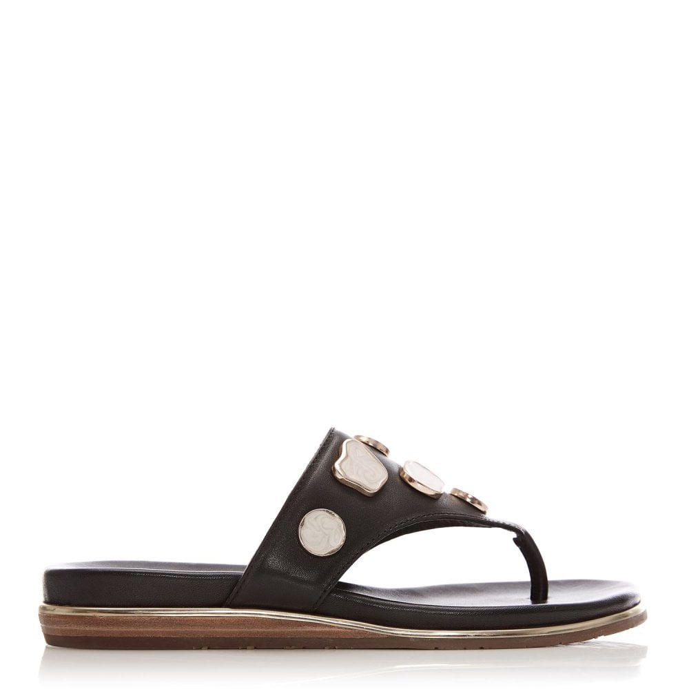 Moda in Pelle Oller Black Leather Pearl Trim Toe Post