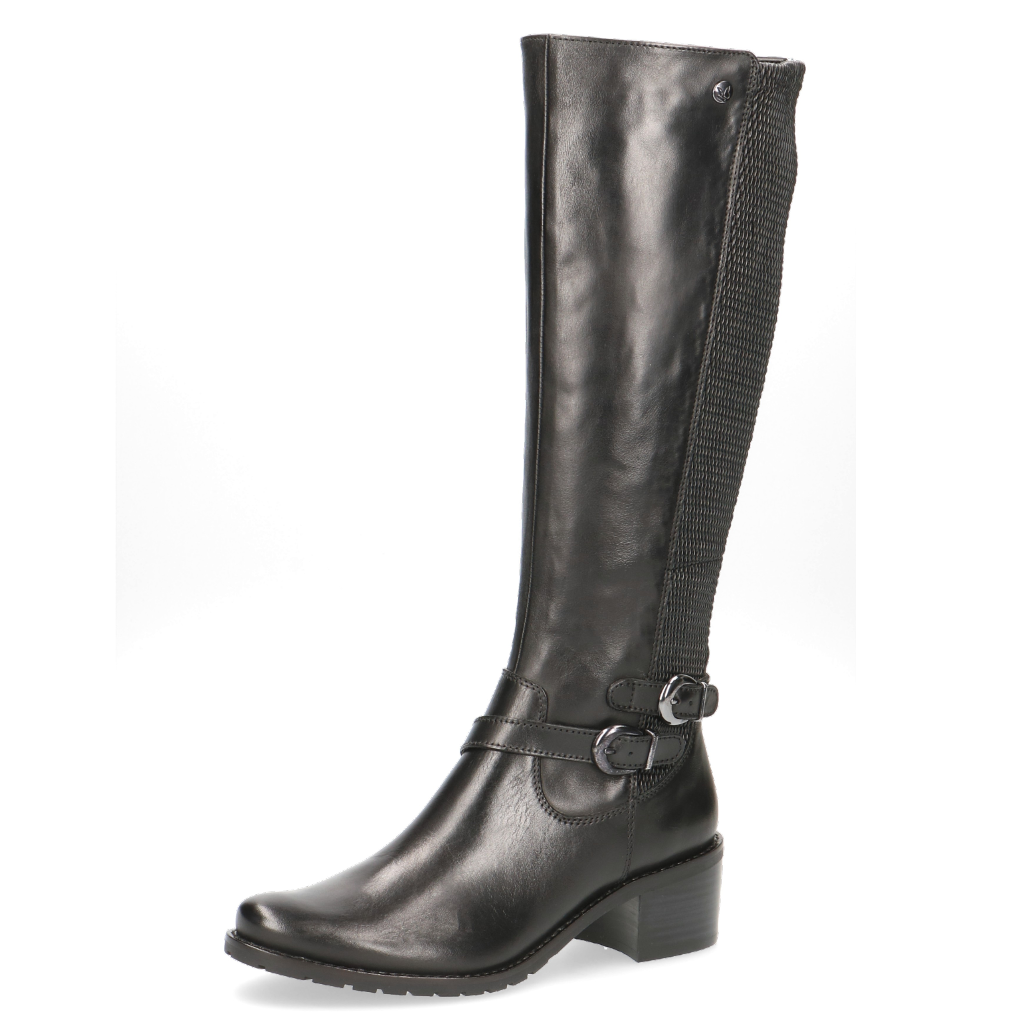 Caprice Black Leather Elastic Detail Double Buckle Knee Boot