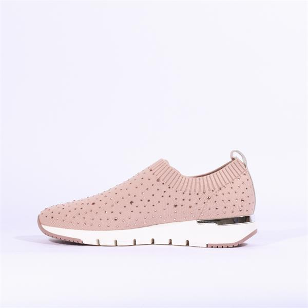 Caprice Knit Pale Pink Diamanté Pump
