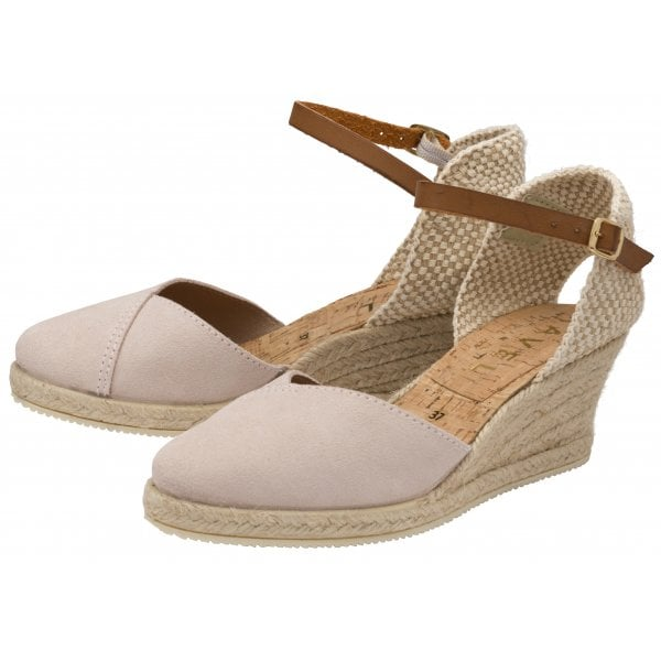 Ravel Springwood Rose Pink Suede Espadrille Wedge