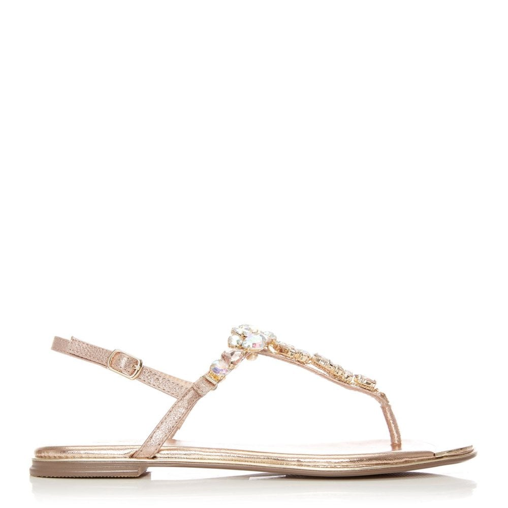 Moda in Pelle Laine Jewel T-bar Sandal Rose Gold