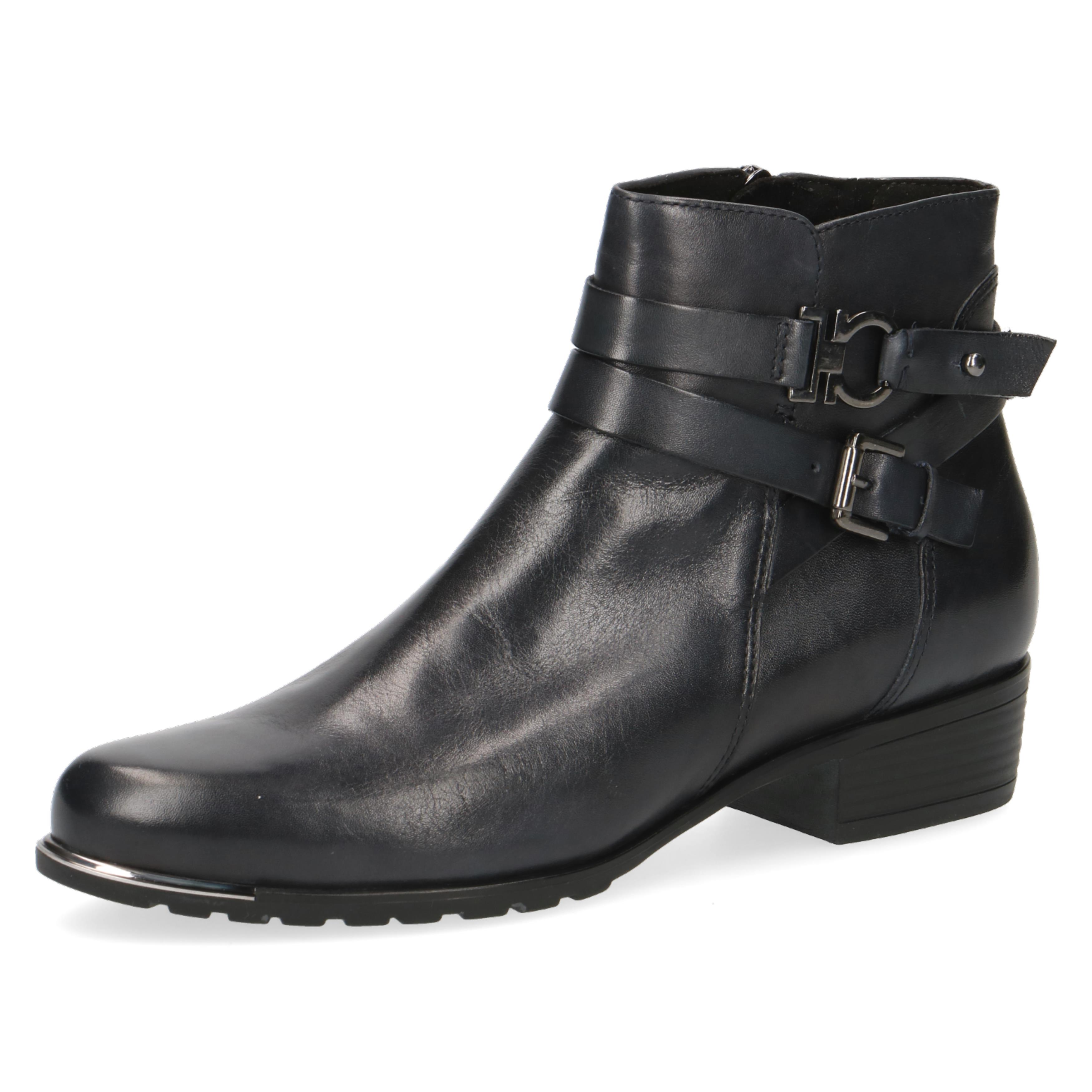 Caprice Black Leather Ankle Boot with Logo Buckle
