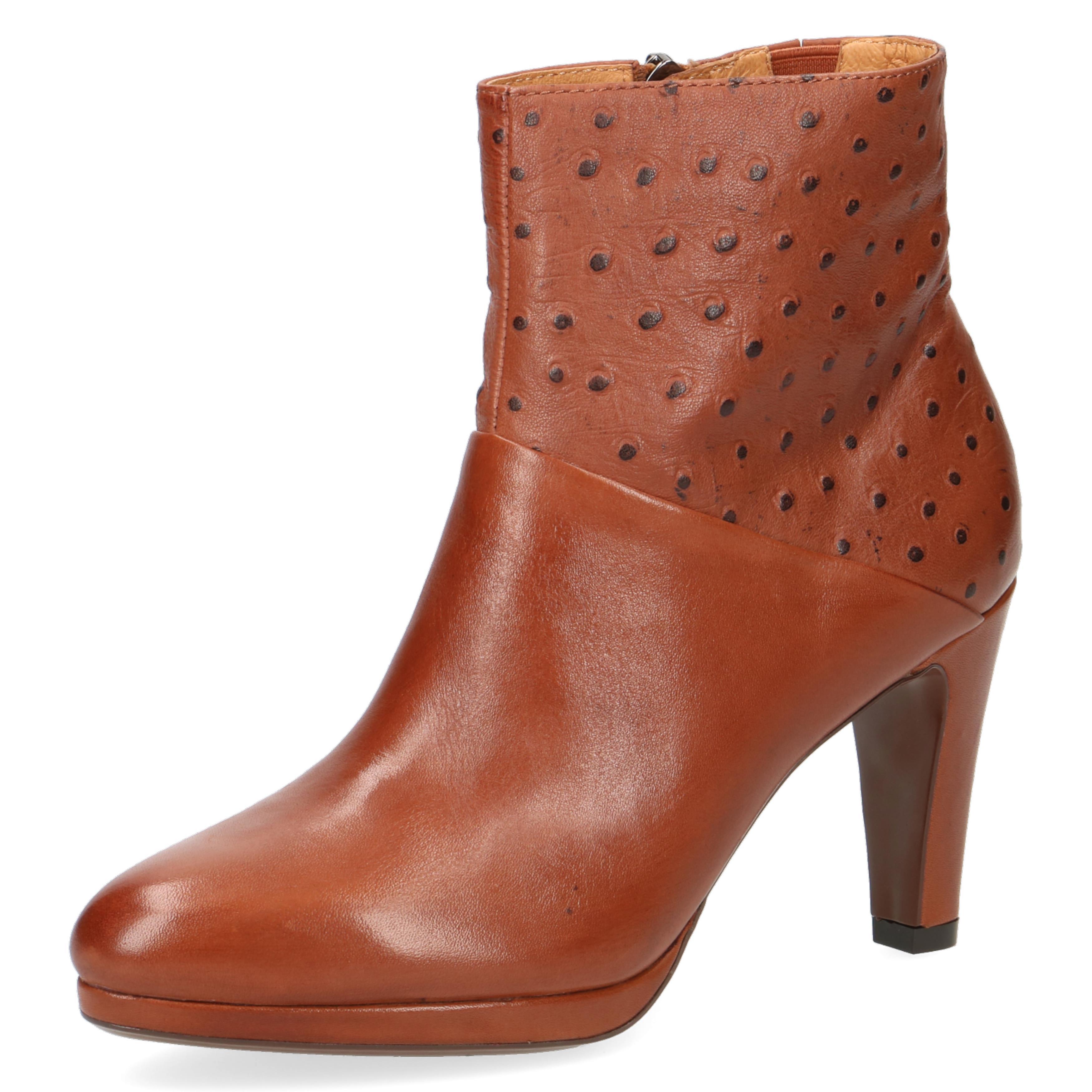 Caprice Cognac Emu Brown High Heel Ankle Boot