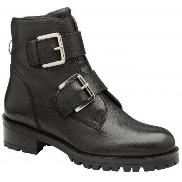 Ravel Darfield Black Leather Chunky Ankle Boot