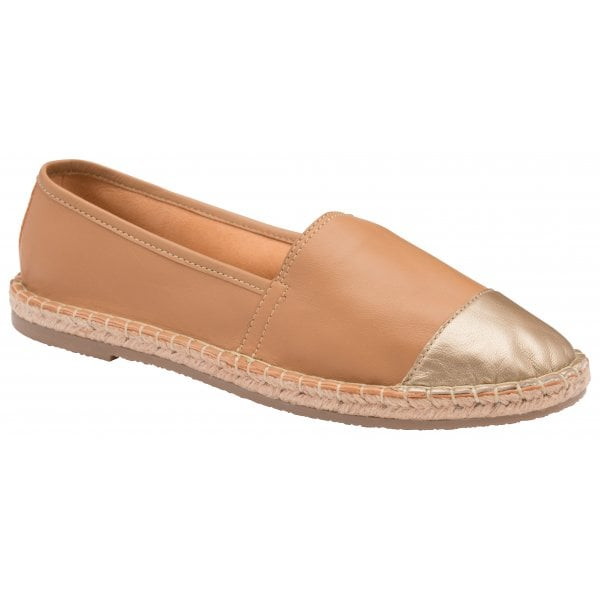 Ravel Bargo Tan / Gold Leather Flat Espadrille