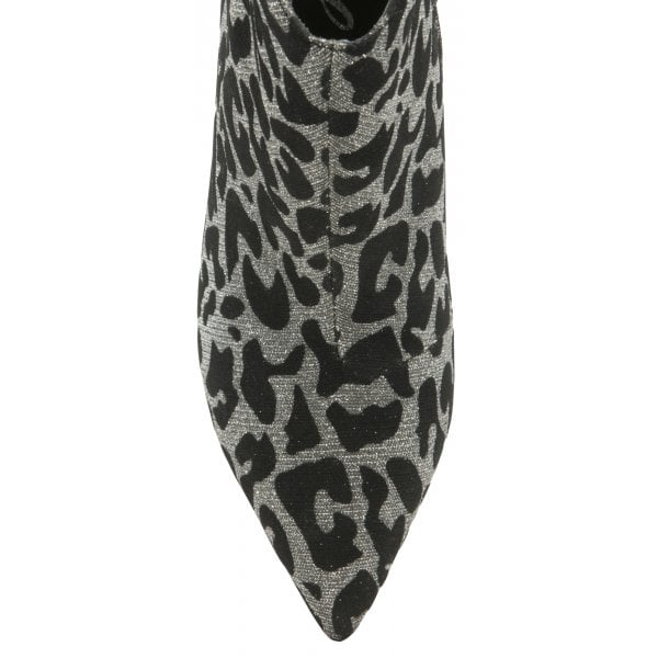 Ravel Renwick Silver Sparkle Leopard Print Ankle Boot