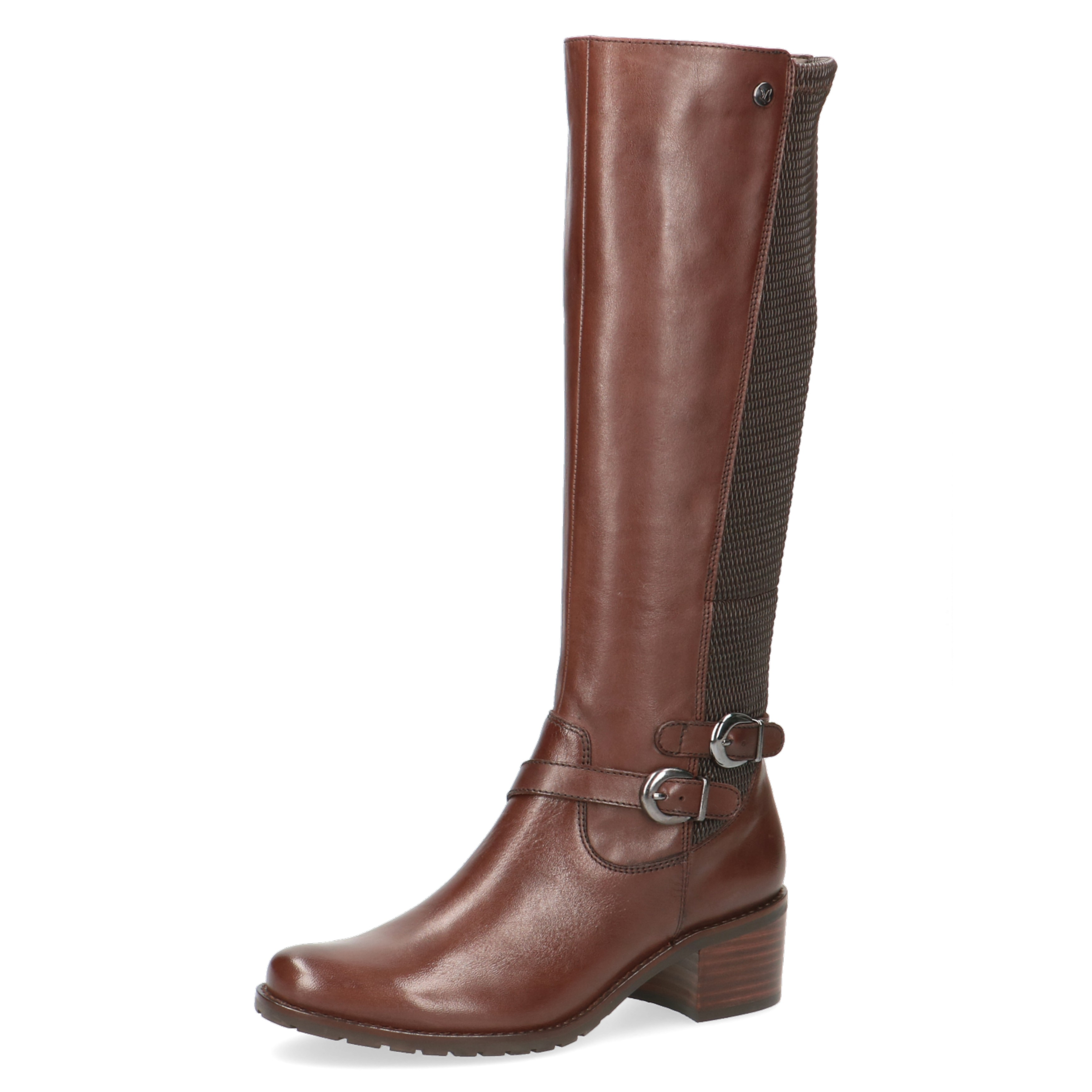 Caprice Tan Leather Elastic Detail Double Buckle Strap Knee Boot