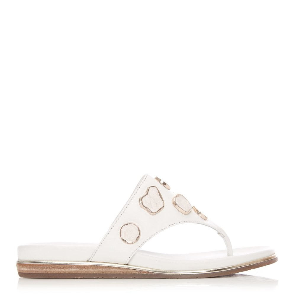 Moda in Pelle Oller White Leather Pearl Trim Toe Post