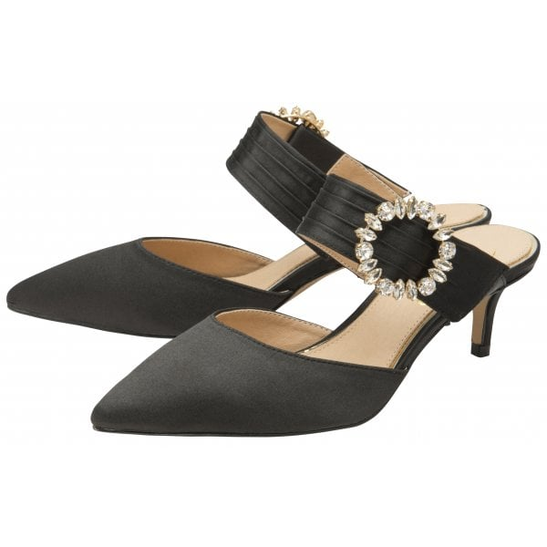 Ravel Marsden Black Satin Diamanté Buckle Low Heel