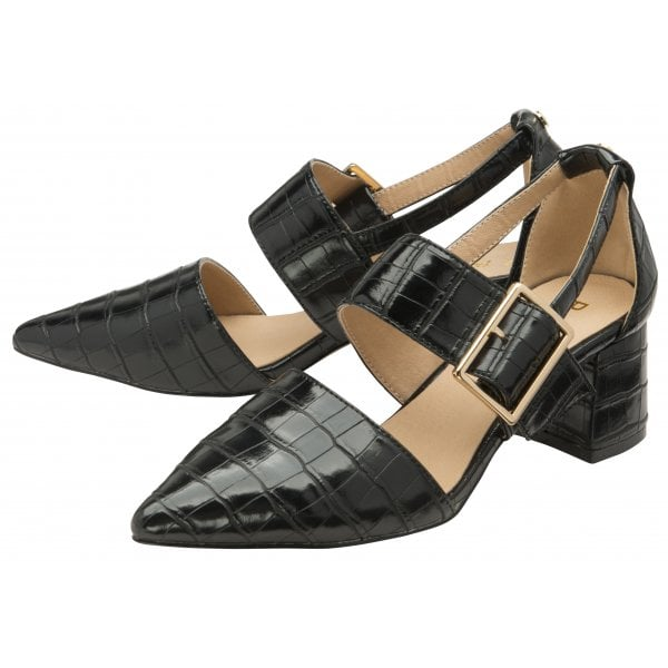 Ravel Mayfield Black Croc Pu Buckle Low Block