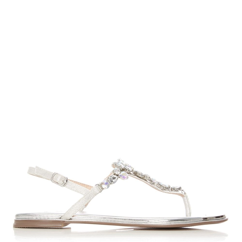 Moda in Pelle Laine Silver Jewel T-bar Sandal