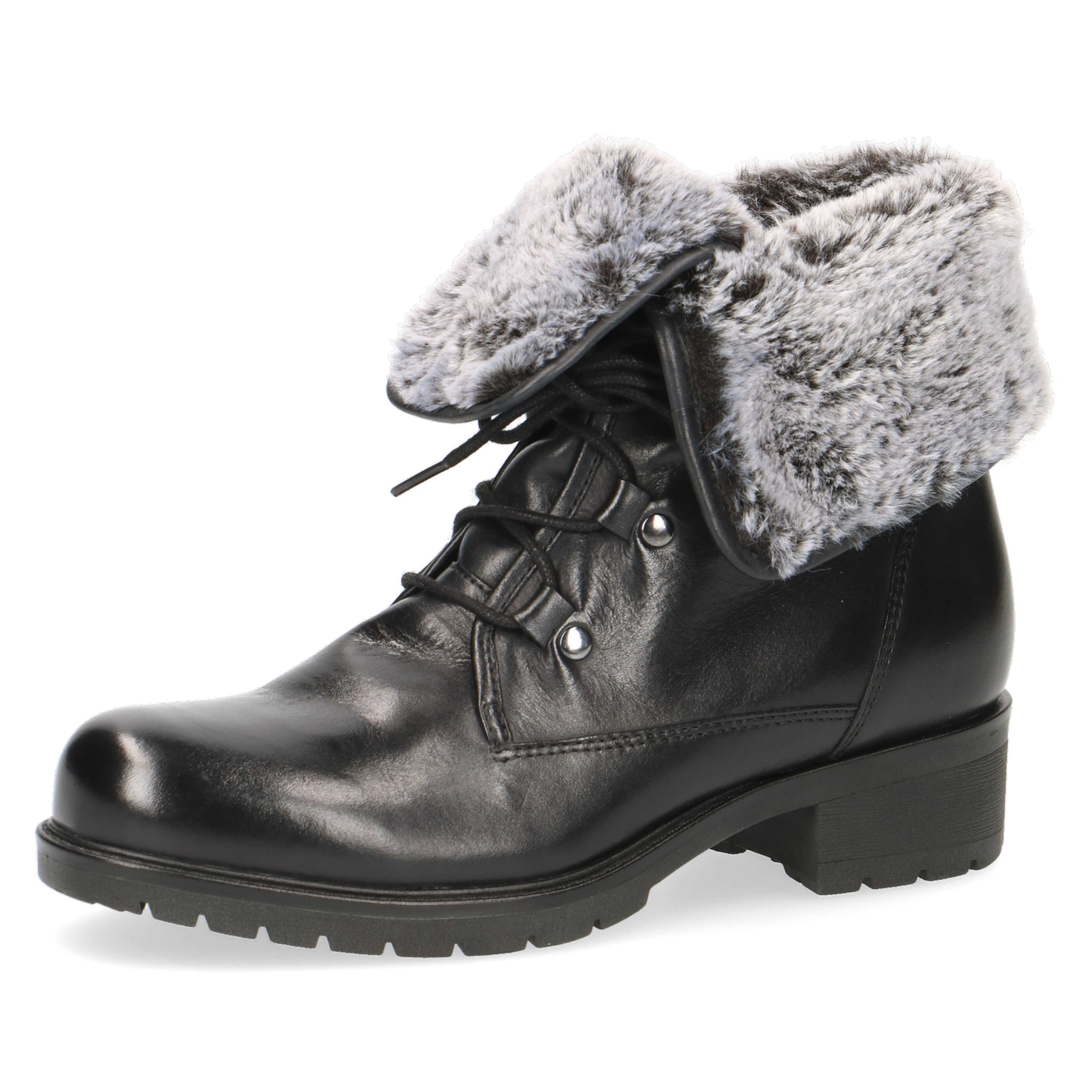 Caprice Black Nappa Lace up Fold over fur Lined Ankle Boots