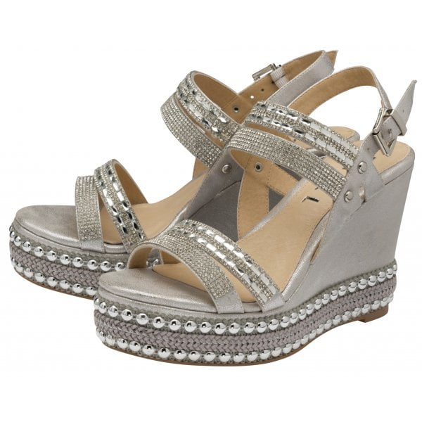 Ravel Cobar Silver Metallic PU Diamanté Wedge
