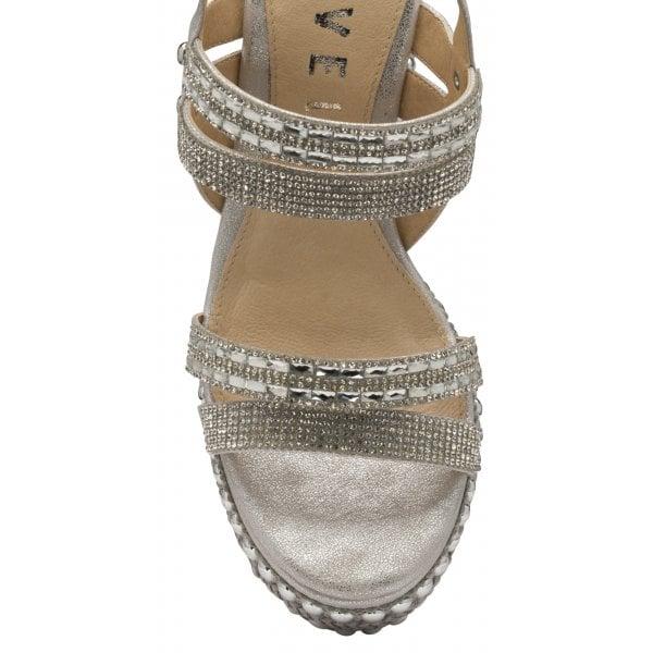 Ravel Cobar Silver Metallic PU Diamanté Wedge
