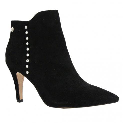 Caprice Black Suede Diamanté Ankle Boot