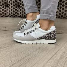 Caprice White / Leopard Leather Trainers
