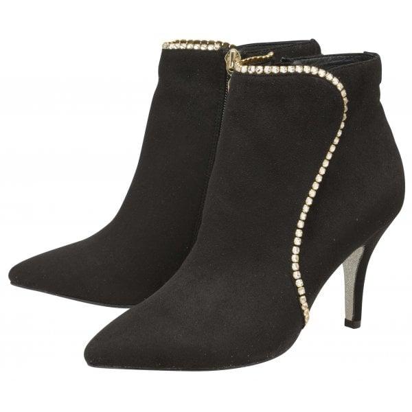 Ravel Stellar Black Suede Diamanté Ankle Boot