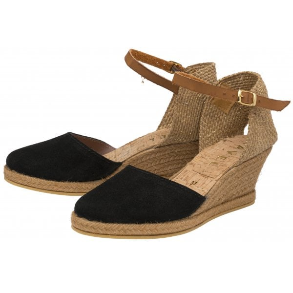 Ravel Etna 11 Black Suede Espadrille Wedge