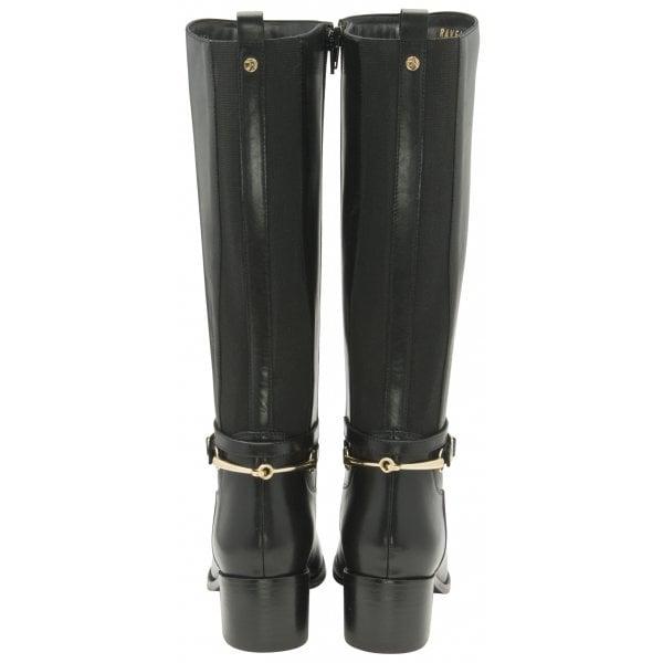Ravel Raglan Black Leather Knee Boot
