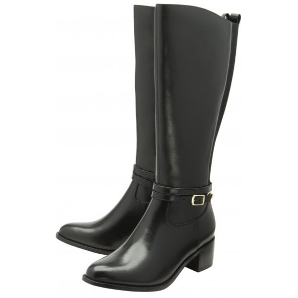 Ravel Raglan Black Leather Knee Boot