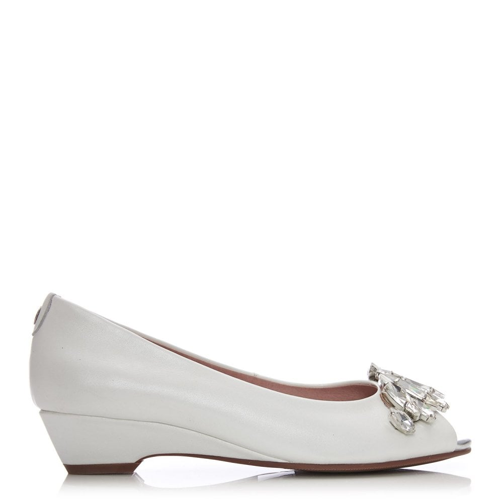 Moda in Pelle Gabista Ivory Leather Jewel Peep Toe