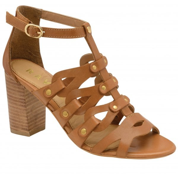Ravel Jackson Tan Leather Block Heel Sandal