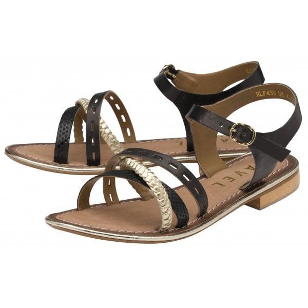 Ravel Cudal Black / Gold Leather Strappy Sandal