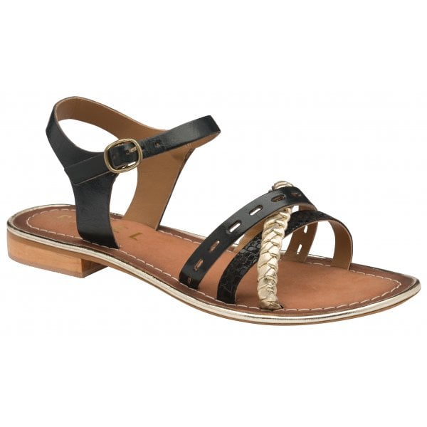 Ravel Cudal Black / Gold Leather Strappy Sandal