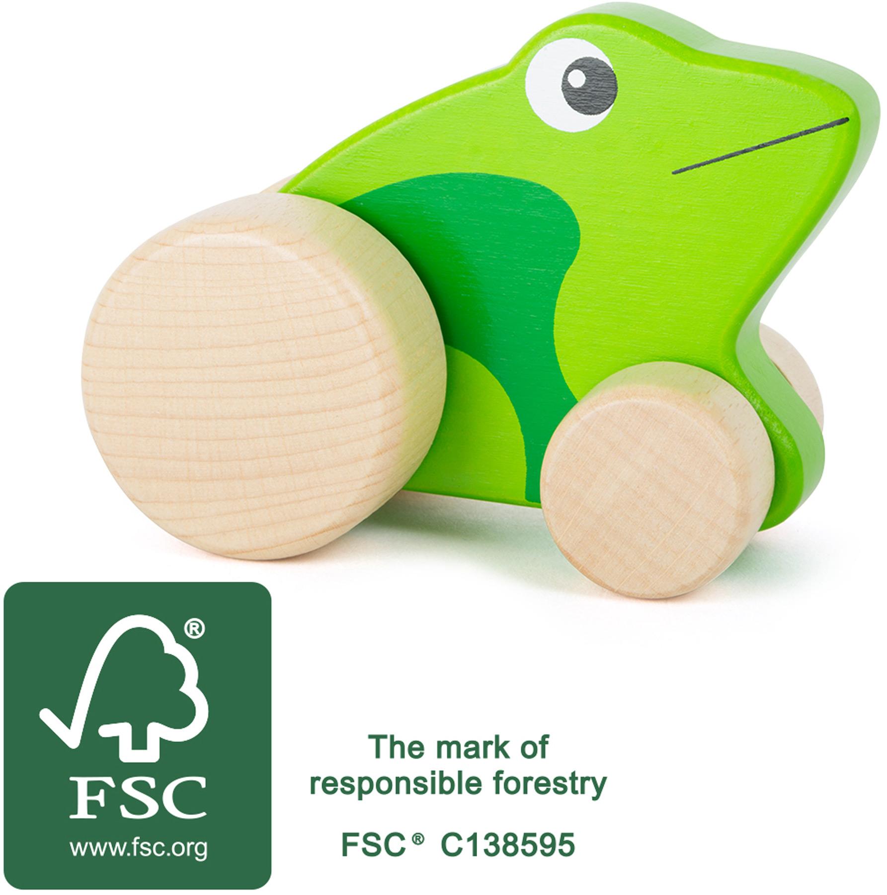 Wooden push along frog