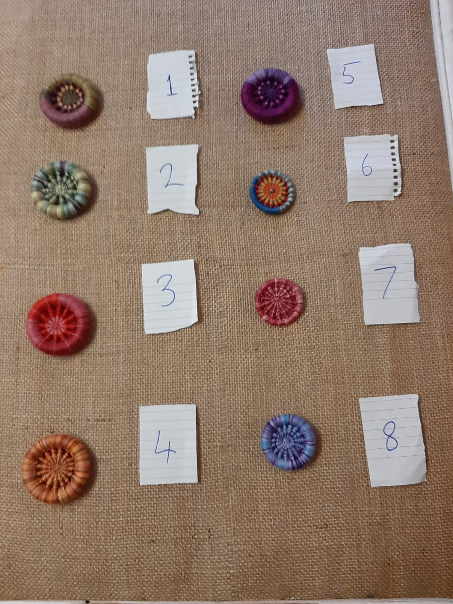 Handmade Dorset button brooches.